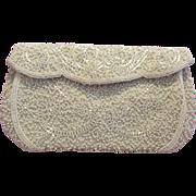 Walborg Belgium White Beaded Handbag Purse Evening