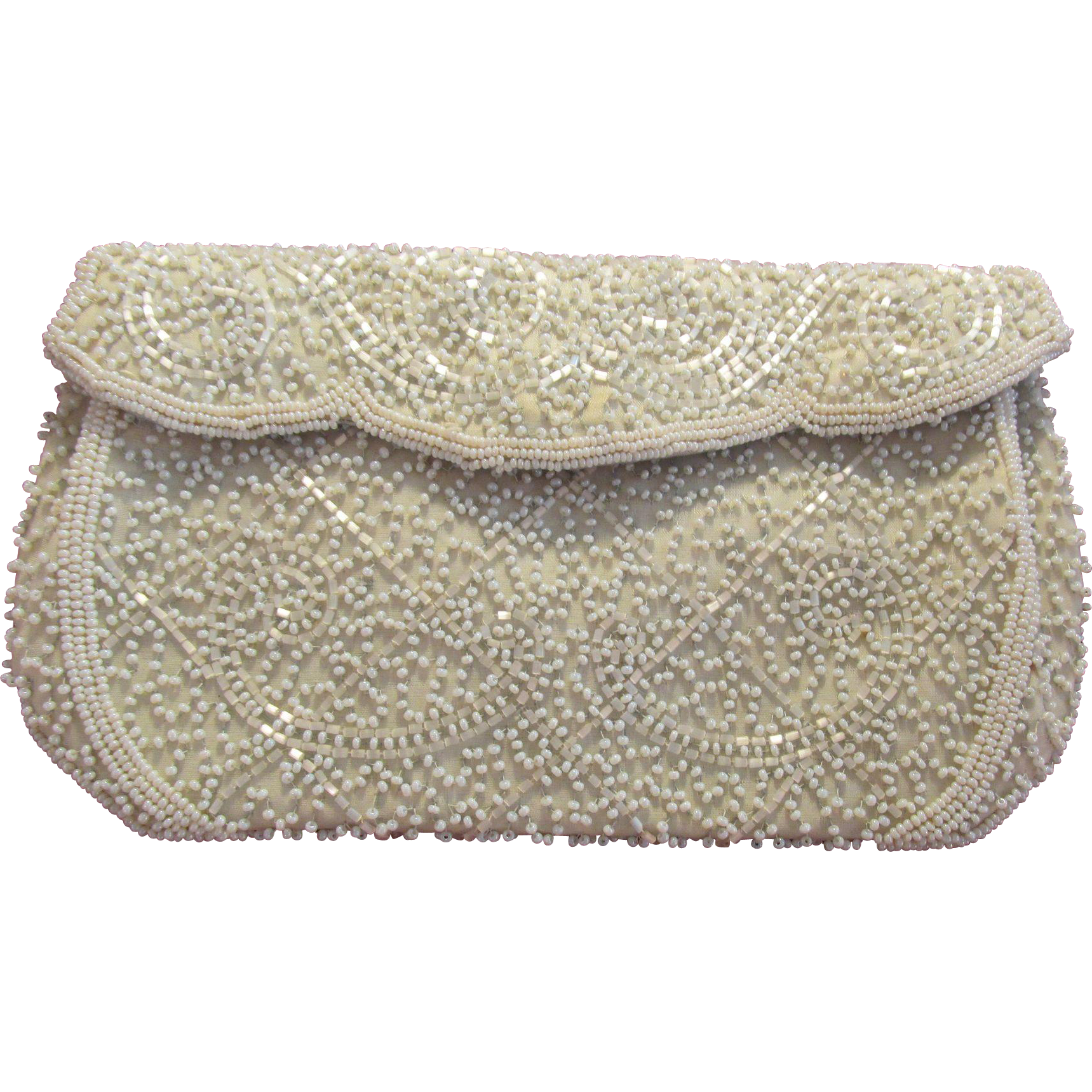 Walborg Belgium White Beaded Handbag Purse Evening