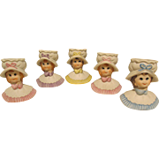 Five Little Lady Head Vases - Toothpick Holders