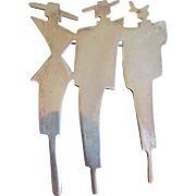 Sterling Silver Deco Design Brooch Pin Modernist Art Three Ladies