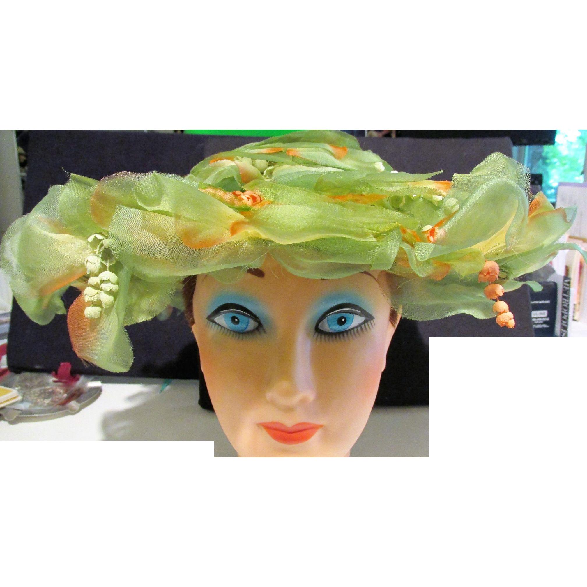 Ladies Silk Petal and Floral Large Derby Hat Vintage