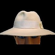 Ladies Off White Hat w/ Wide Brim