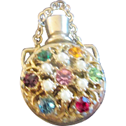Vintage Miniature Perfume Bottle Multi Colored Stones