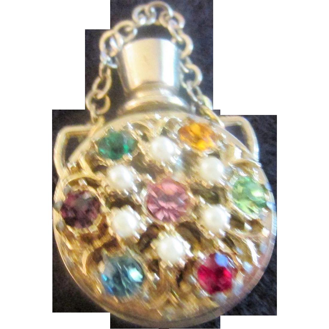 Vintage Miniature Perfume Bottle Multi Colored Stones