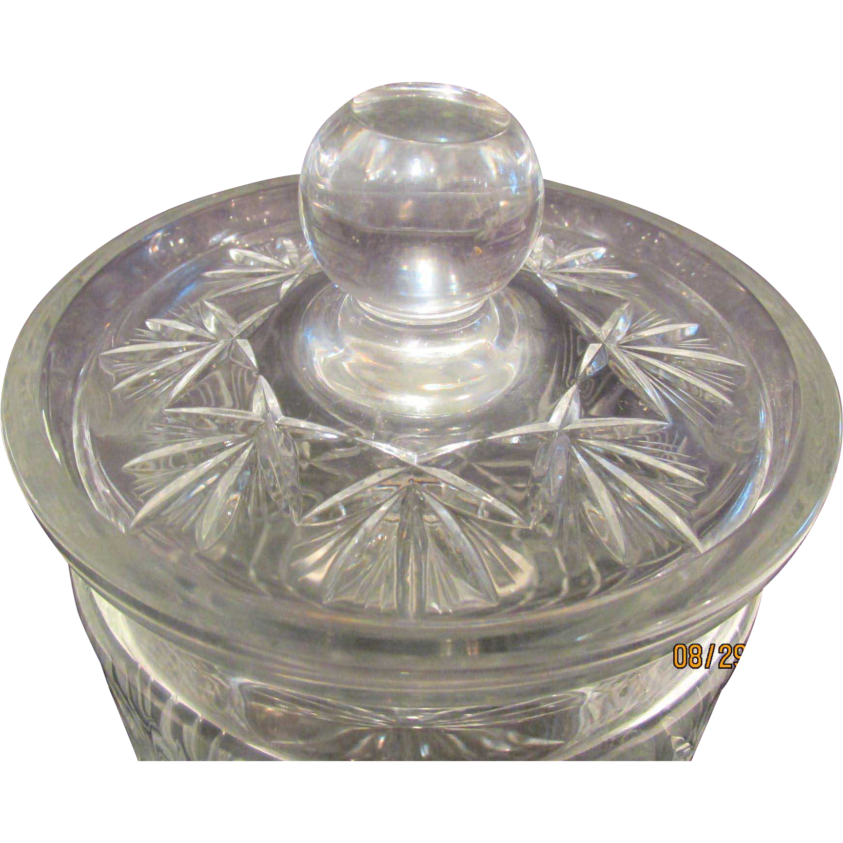 Beautiful Glass Biscuit Holder Candy Container w Lid