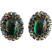 Emerald Green Vintage Earrings many Stones