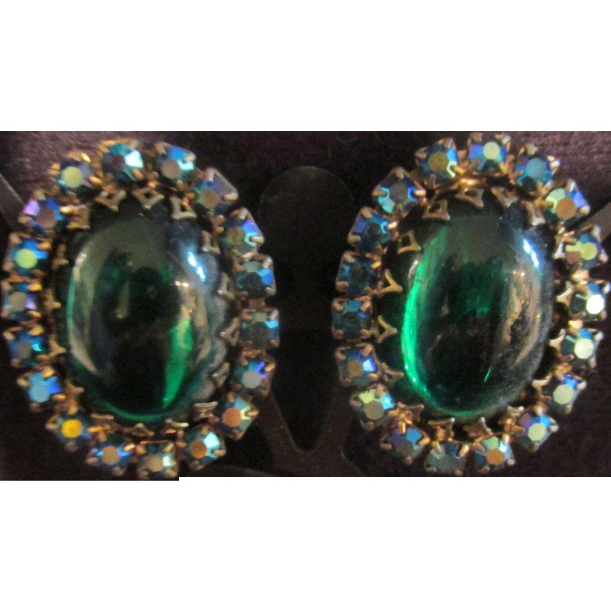 Emerald Green Vintage Earrings many Stones