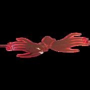 Vintage Lucite Plastic Red Barrette Hands