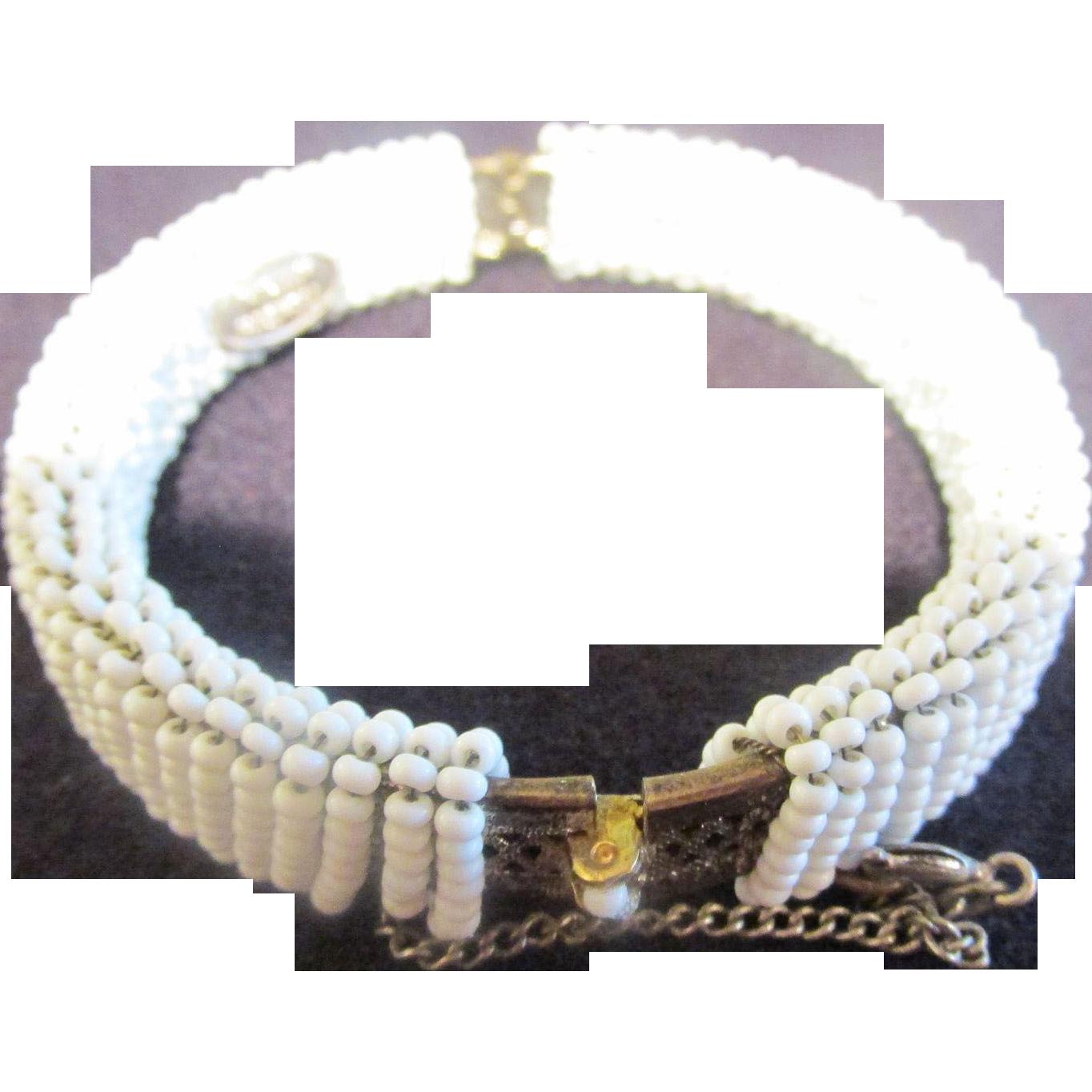 Miriam Haskell Tiny Seed Beaded Bracelet & Earrings