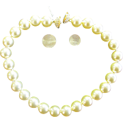 Absolutely Stunning Large Faux Pearl Necklace Rhinestone Clasp