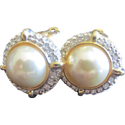 Wonderful Pierced Round  Faux Pearl Earrings with crystals