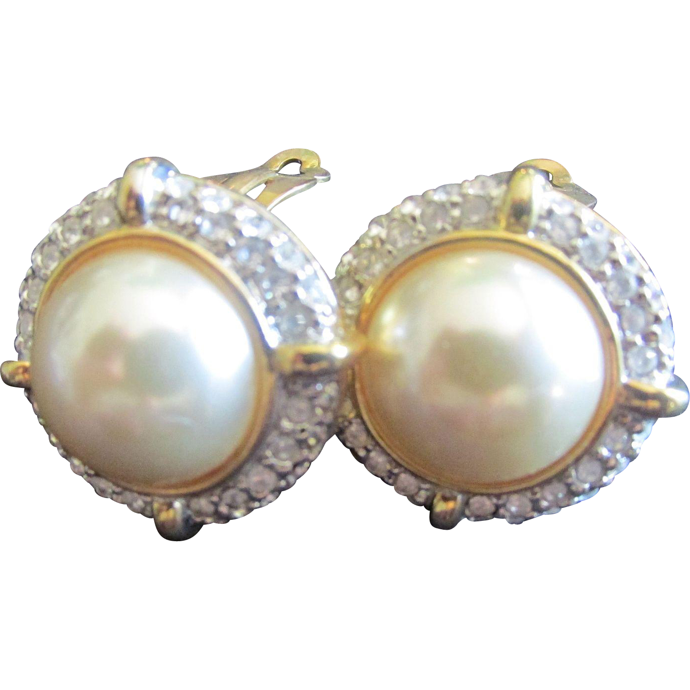 Vintage Pearl Earrings with crystals