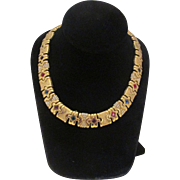 Stunning Multi Colored Stones Gold Tone Metal  Necklace