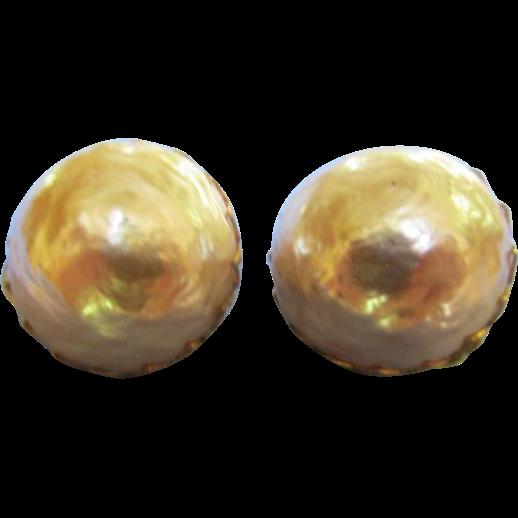 Miriam Haskell Vintage Earrings Large Faux Pearl
