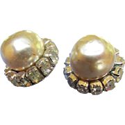 Vintage Miriam Haskell Earrings Faux Pearl w/ Emerald Cut Baguette