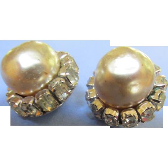Vintage Miriam Haskell Earrings Faux Pearl w/ Emerald Cut Baguette