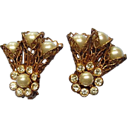 Vintage Earrings Barclay Filagree Faux Pearls