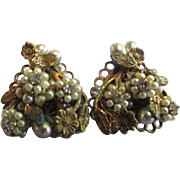 Vintage Eugene Heart Shape Earrings Mini Faux Pearls Rhinestones Filigree