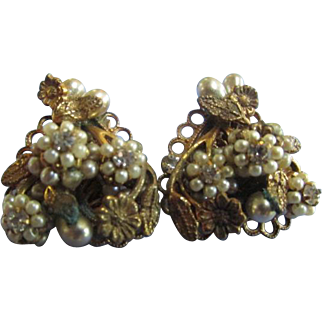 Vintage Eugene Heart Shape Earrings Mini Faux Pearls Rhinestones Filigree