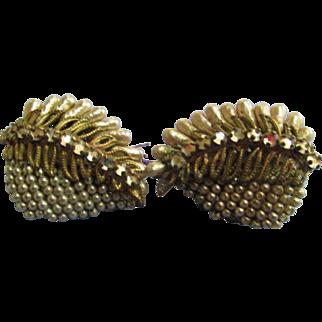Vintage Earrings Seed Pearls, Rhinestones, Elongated Faux Pearls