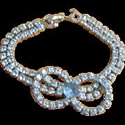 Vintage Rhinestone Bracelet  With Blue Stones Double Strand