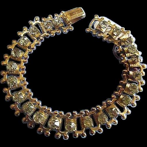 Coro Bracelet Flying Horse Rhinestones Gold Tone Setting