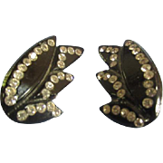 Vintage Earrings Black w/ Rhinestones Bakelite Lucite