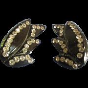 Vintage Earrings Black w/ Rhinestones Bakelite Lucite