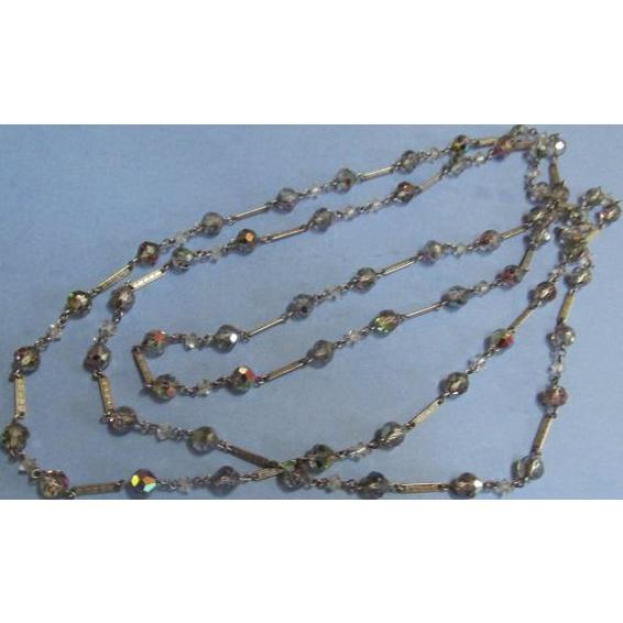 "Vintage Necklace Aurora Borealis Opera Length 60"""