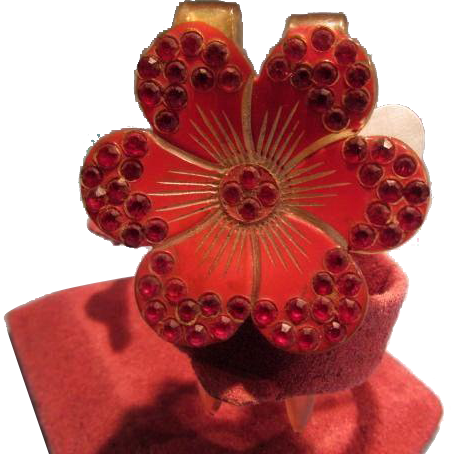 Floral Vintage Hair Ornament RED