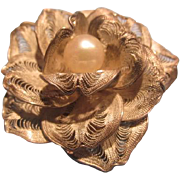 Sterling Silver Cultured Pearl Floral Brooch Pin