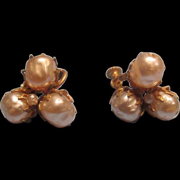 Miriam Haskell Vintage Earrings Pearls