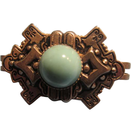 Vintage Scarf Clip Turquoise Stone