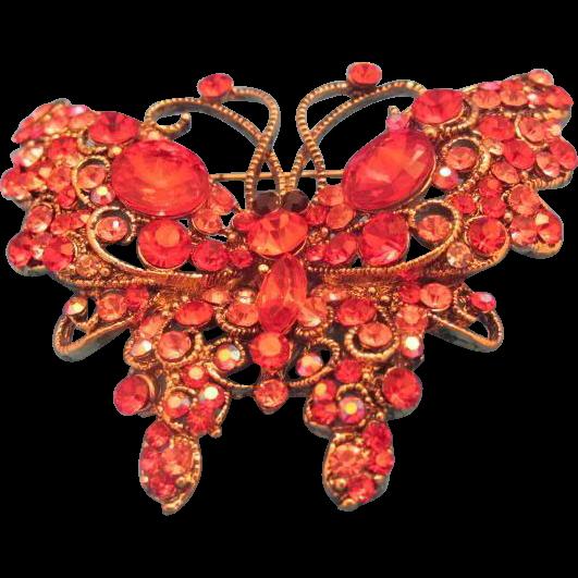 Swarovski Butterfly Red Stones