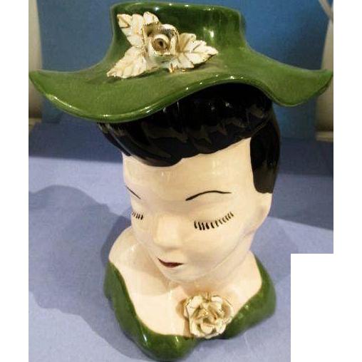 Vintage Lady Head Vase Glamour Girl