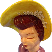 Vintage Lady Head Vase Glamour Girl