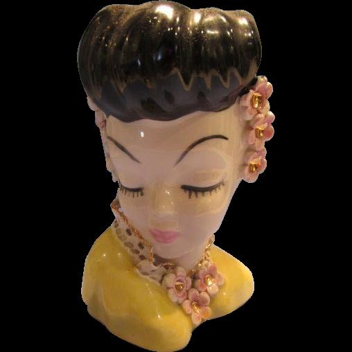 Head Vase Lady Vintage Glamour Girl Mini