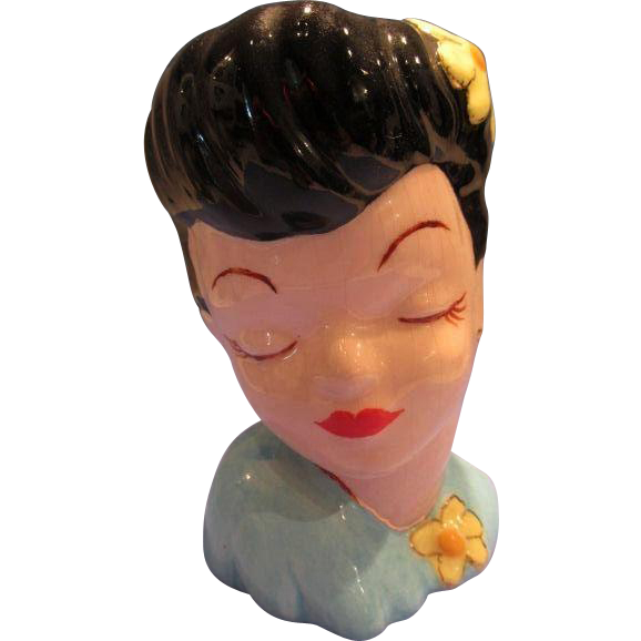 Head Vase Lady Vintage Glamour Girl Mini