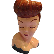 Vintage Head Vase Glamour Girl Auburn Hair