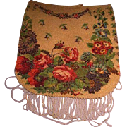 Vintage Floral Glass Beaded Purse Handbag