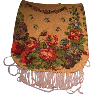 Vintage Floral Glass Beaded Purse Handbag