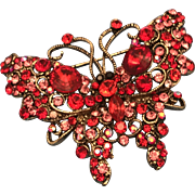 Swarovski Crystal Butterfly Brooch Pin Red