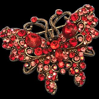 Swarovski Crystal Butterfly Brooch Pin Red