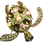 Swarovski Crystals Green Stone Turtle Brooch Pin