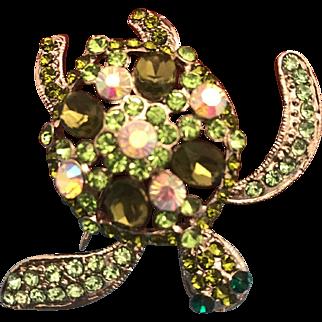 Swarovski Crystals Green Stone Turtle Brooch Pin