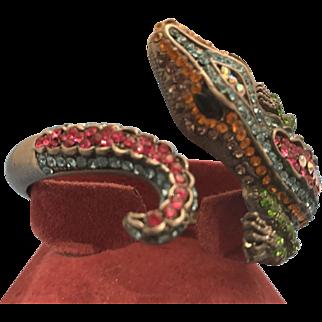 Swarovski Crystal Alligator Bangle Bracelet