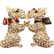 Swarovski Crystals Brooch Kissing Dogs Puppy Scottie