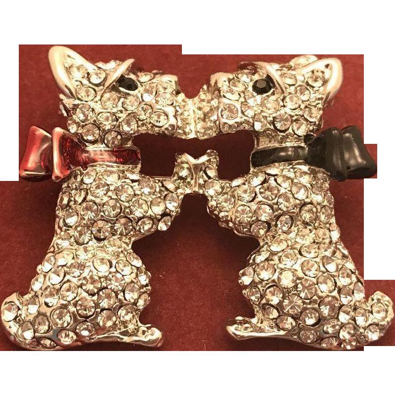 Swarovski Crystals Brooch Kissing Dogs Puppy Scottie