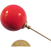 Hat Pin Vintage Large Red Ball Glas