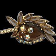 Vintage Brooch Pin Large Stone Multi Colors